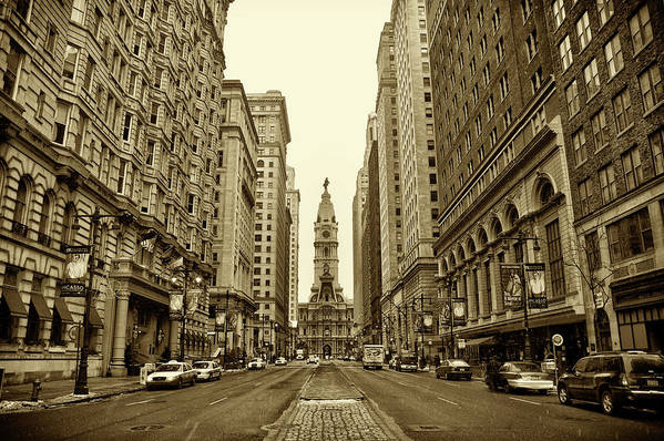 Broad Street Art Print featuring the photograph Broad Street Facing Philadelphia City Hall In Sepia by Bill Cannon