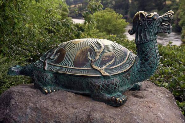 Bronze Turtle Dragon Sculpture Art Print featuring the photograph Bronze Turtle Dragon Sculpture by Sally Weigand