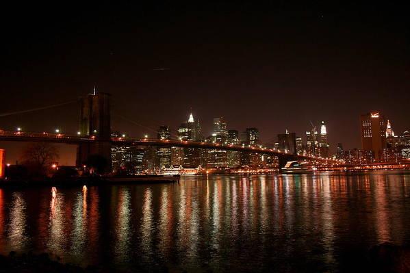 Brooklyn Bridge Art Print featuring the photograph Brooklyn Bridge At Night by Jason Hochman