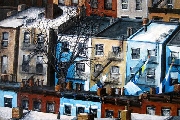 Landscape Art Print featuring the painting Brooklyn Rooftops by Leonardo Ruggieri