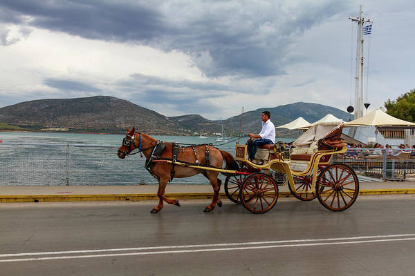 Boat Art Print featuring the photograph Brown Horse Drawn Carriage by Iordanis Pallikaras