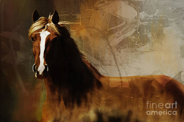 Horse Paintings Art Print featuring the painting Brown Horse Pose by Gull G