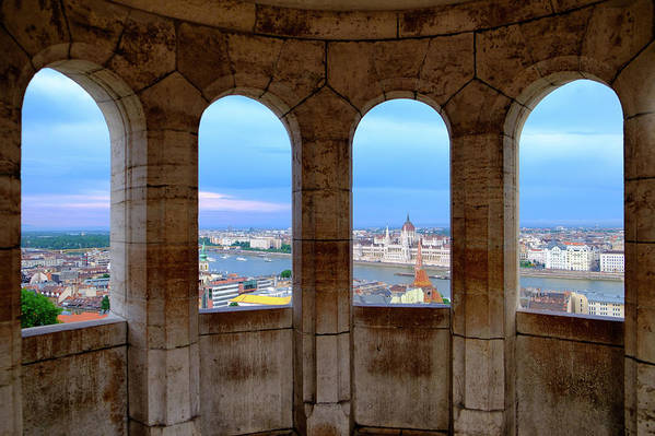 Architecture Art Print featuring the photograph Budapest Parliament From The Fishermans Bastion by Russ Dixon