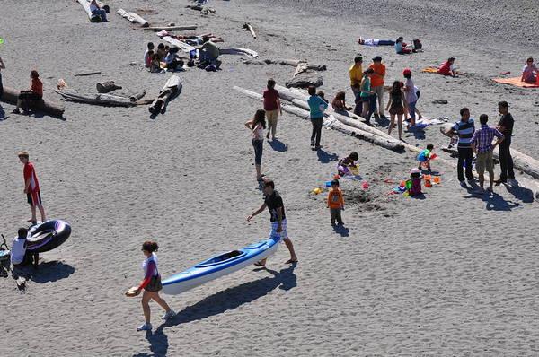 Beach Art Print featuring the photograph Busy Beach by Caroline Reyes-Loughrey
