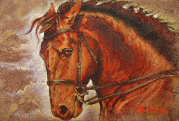 Horse Paintings Art Print featuring the painting Caballo I by J- J- Espinoza
