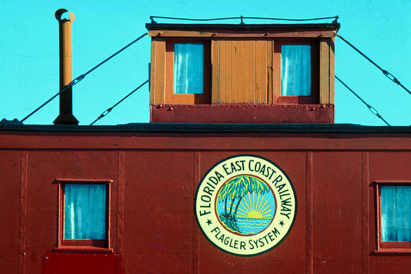 Florida Keys Train Railroad Art Print featuring the photograph Caboose by Carl Purcell