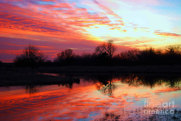 Clouds Art Print featuring the photograph Calming Sunset by Larry Keahey