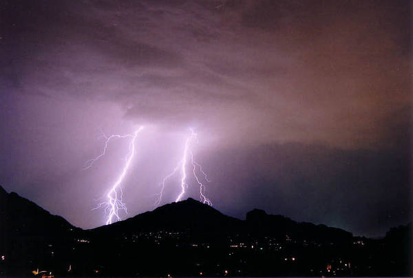 Lightning Art Print featuring the photograph Camelback Scratch by Cathy Franklin