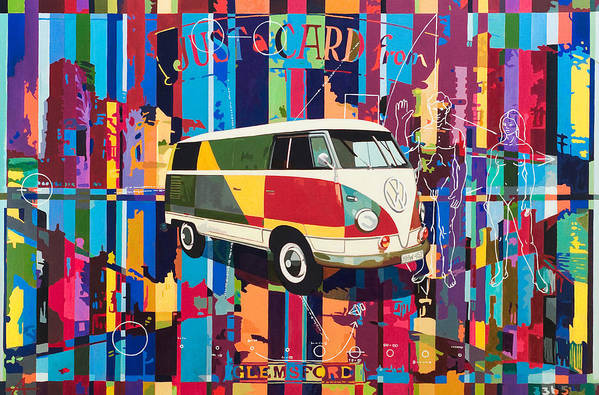 Vw Bus Art Print featuring the painting Camouflage by Alfred Degens