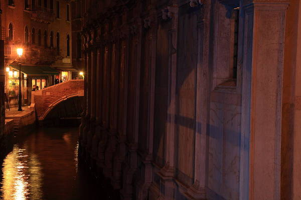 Venice Art Print featuring the photograph Canal By The Church Of The Miracoli In Venice At Night by Michael Henderson