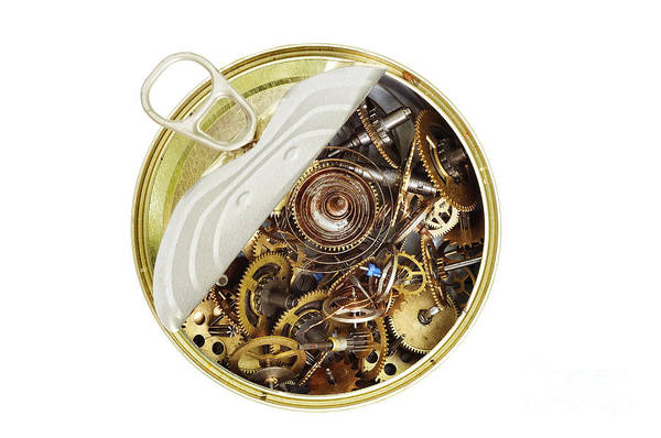 Clockwork Art Print featuring the photograph Canned Time - Parts Of Clockwork Mechanism In The Can by Michal Boubin