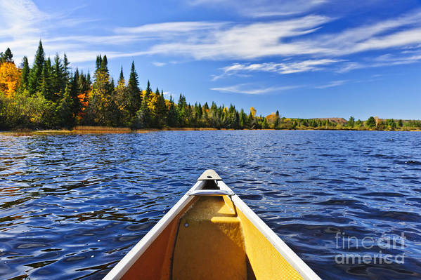 Canoe Print featuring the photograph Canoe Bow On Lake by Elena Elisseeva