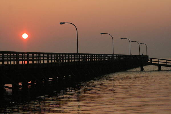 Sunrise Art Print featuring the photograph Captree Pier Dawn by Christopher Kirby