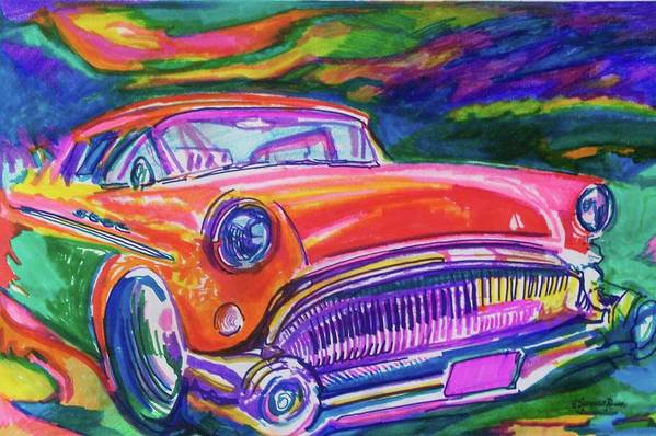 Hod Rod Art Art Print featuring the painting Car And Colorful by Evelyn Sprouse Rowe