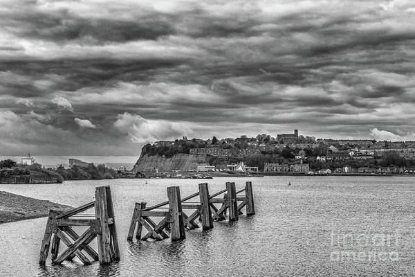 Cardiff Bay Art Print featuring the photograph Cardiff Bay Dolphins Mono by Steve Purnell