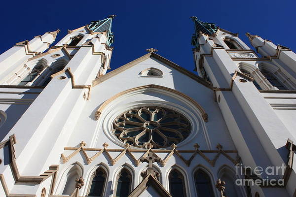 Cathedral Of St John The Babtist Art Print featuring the photograph Cathedral Of St John The Babtist In Savannah by Carol Groenen