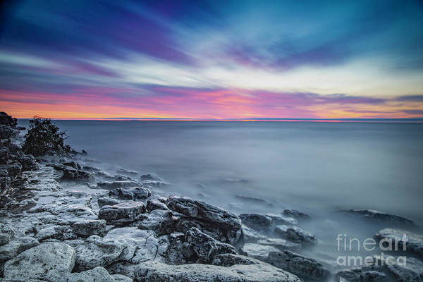 Door County Art Print featuring the photograph Cave Point Sunrise by Randy Kostichka