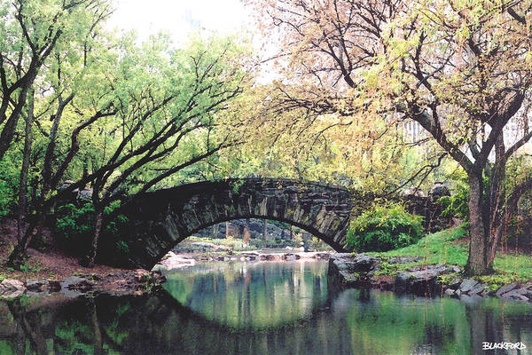 Central Park Art Print featuring the digital art Central Park Bridge by Al Blackford