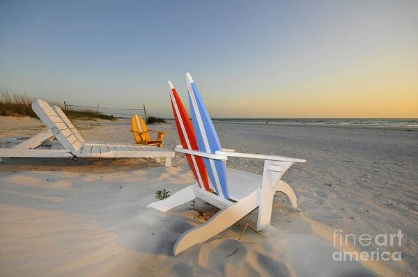 Beach Chairs Art Print featuring the photograph Chairs On The Beach by David Lee Thompson