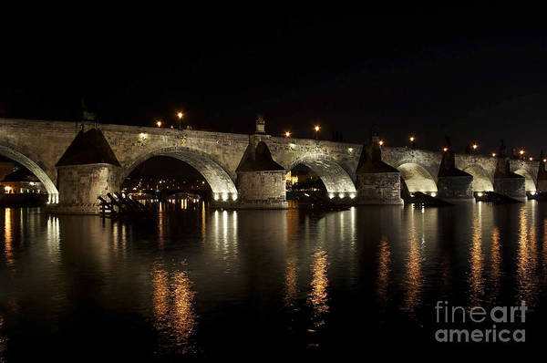 Bridge Art Print featuring the photograph Charles Bridge At Night by Michal Boubin