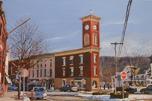 Cityscape Art Print featuring the painting Chatham Clock Tower by Kenneth Young