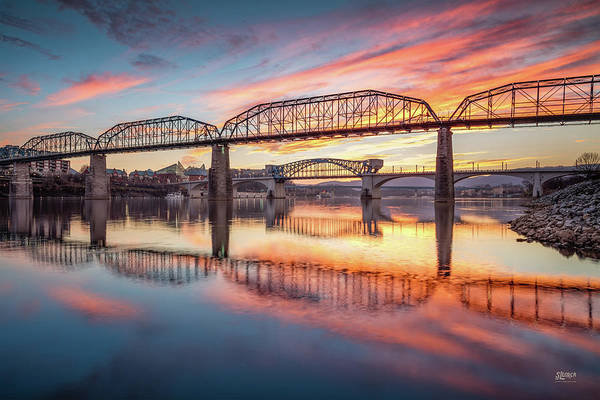 Chattanooga Art Print featuring the photograph Chattanooga Sunset 5 by Steven Llorca