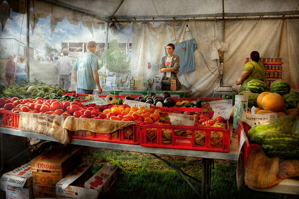 Chef Art Print featuring the photograph Chef - Vegetable - Jersey Fresh Farmers Market by Mike Savad