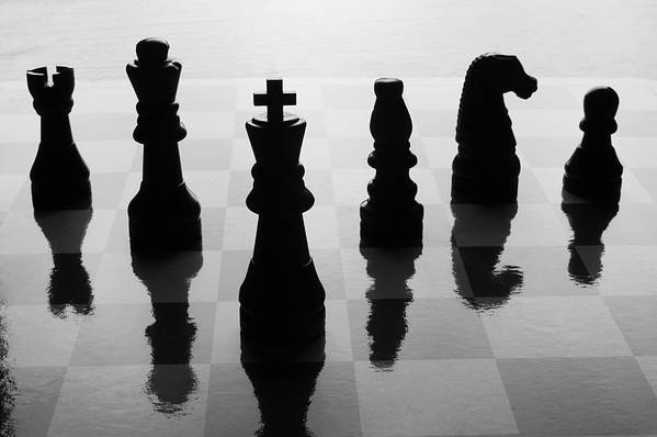 Horizontal Art Print featuring the photograph Chess Board And Pieces by Jon Schulte