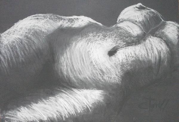 Original Art Print featuring the drawing Chiaroscuro - Torso by Carmen Tyrrell