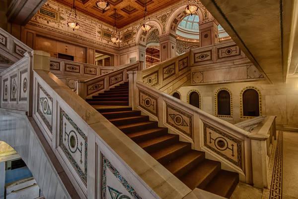 Chicago Cultural Center Art Print featuring the photograph Chicago Cultural Center Stairs by Mike Burgquist