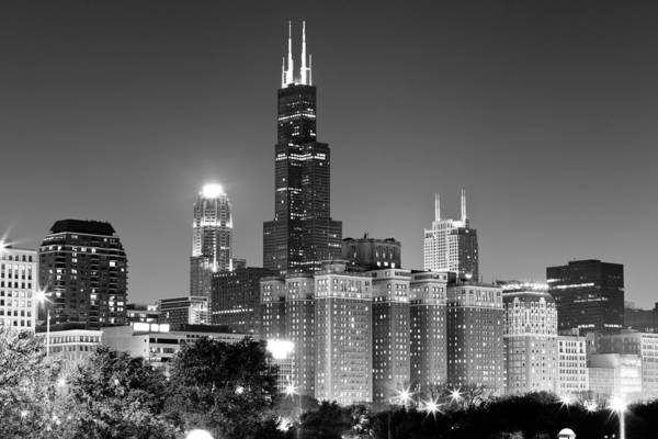 At&t Art Print featuring the photograph Chicago Night Skyline In Black And White by Paul Velgos
