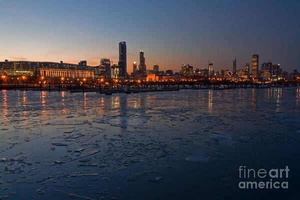 Chicago Art Print featuring the photograph Chicago Skyline At Dusk by Sven Brogren