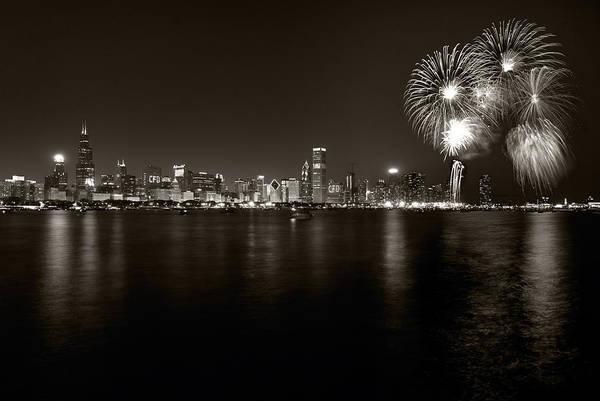 4th Art Print featuring the photograph Chicago Skyline Fireworks Bw by Steve Gadomski