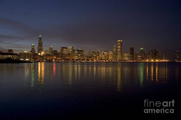 Chicago Art Print featuring the photograph Chicago Skyline by Timothy Johnson