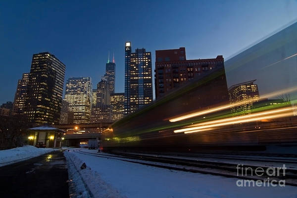 Chicago Skyline Art Print featuring the photograph Chicago Train Blur by Sven Brogren