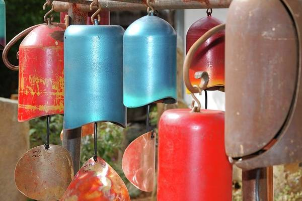 Windchimes Art Print featuring the tapestry - textile Chimes by Jerry Sodorff