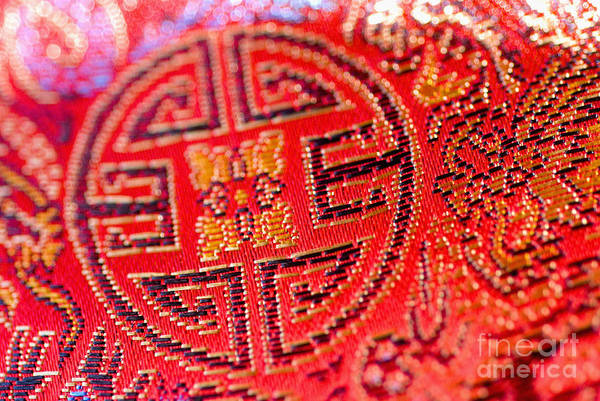 Asian Cultural Art Art Print featuring the photograph Chinese Embroidery by Ray Laskowitz - Printscapes