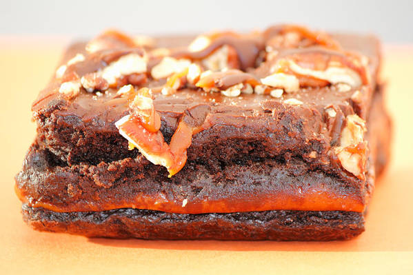 Brownie Art Print featuring the photograph Chocolate Brownie With Nuts Dessert by Lee Serenethos