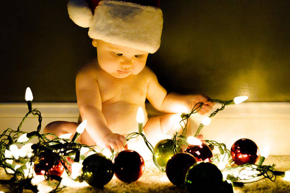 Christmas Art Print featuring the photograph Christmas In A Baby's Eyes by Chris Jones