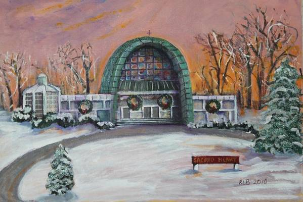 Sacred Heart Art Print featuring the painting Christmas Morning At Sacred Heart Church by Rita Brown