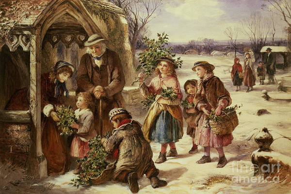 Holly Art Print featuring the painting Christmas Morning by Thomas Falcon Marshall