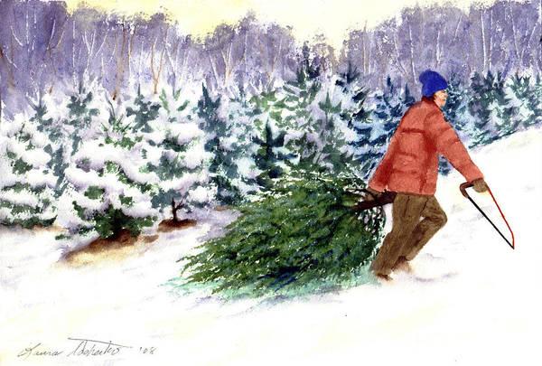 Christmas Art Print featuring the painting Christmas Tree Farm by Laura Tasheiko