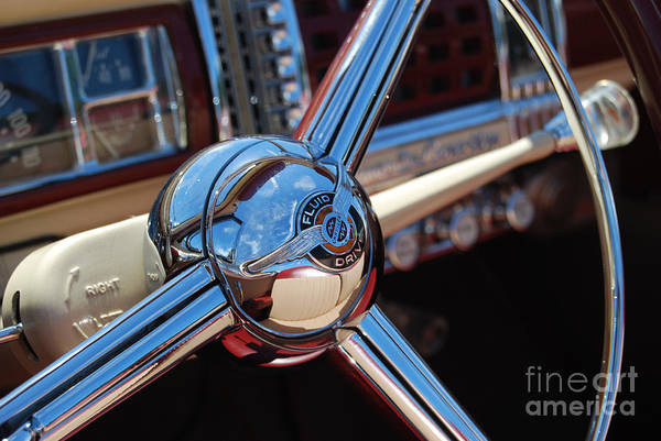 Classics Art Print featuring the photograph Chrysler Town And Country Steering Wheel by Larry Keahey