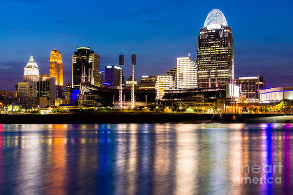 2012 Art Print featuring the photograph Cincinnati Skyline At Night by Paul Velgos