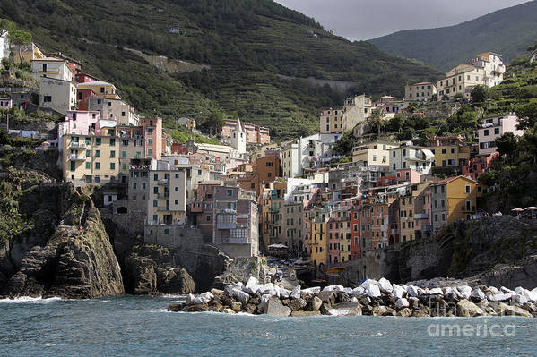 Italy Art Print featuring the photograph Cinqueterre From The Sea by Stan and Anne Foster