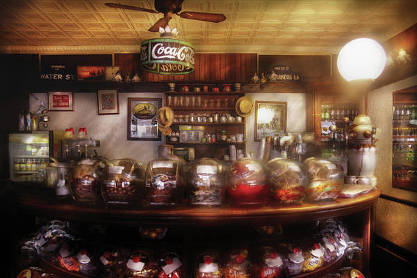 Savad Print featuring the photograph City - Ny 77 Water Street - The Candy Store by Mike Savad