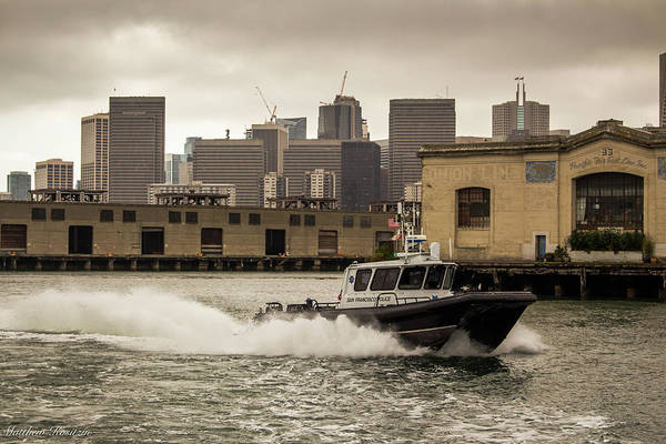 Boat Art Print featuring the photograph City Bay Police Boat - Color by Matthew Kositzin