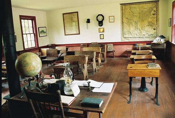 One Room School House Art Print featuring the photograph Classroom Inside Of Charlestown Rhode Island by Cheryl Martin