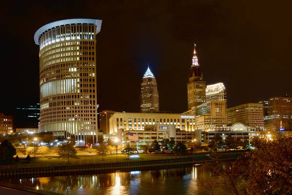 Cleveland Art Print featuring the photograph Cleveland At Night by Neil Doren