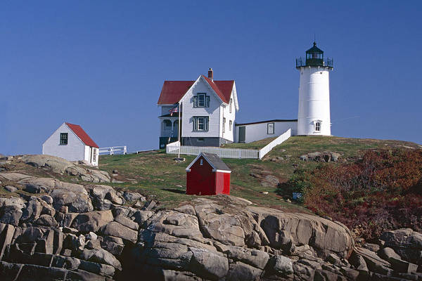 Architecture Art Print featuring the photograph Close Up View Of A Lighthouse Cape Neddick Maine by George Oze
